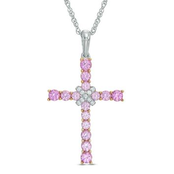 Lab-Created Pink and White Sapphire Cross Pendant in Sterling Silver|Zales