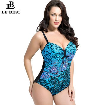 LEBESI 2017 One Piece Swimsuit Flower Printed Swimwear Women Underwire Push Up Monikini Halter Top Bathing Suit Plus Size 7XL