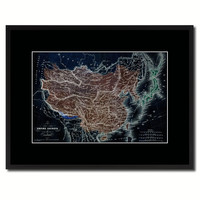 China Japan Korea Vintage Vivid Color Map Canvas Print, Picture Frame Home Decor Wall Art Office Decoration Gift Ideas