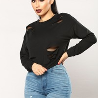 Frida Fishnet Sweatshirt - Black