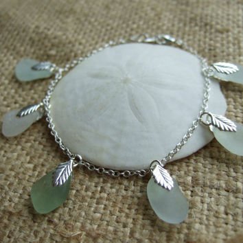 Mermaid's Tears bracelet - sterling silver 7'' bracelet with Scottish sea glass in white, sea foam & light green, sea glass bracelet
