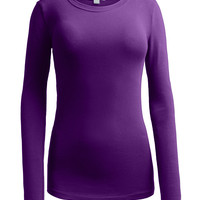 LE3NO Womens Basic Round Neck Long Sleeve Shirt (CLEARANCE)