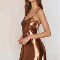 Motel Mercury Metallic Slip Dress