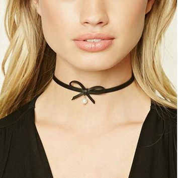 Danze Fashion Choker Necklace Women 2017 Female Black Leather Rope Bow Tie Simulated Pearl Necklaces & Pendants Collar Bijoux