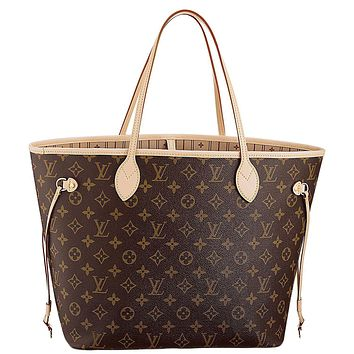Tagre™ Louis Vuitton Neverfull MM Monogram Canvas Handbag Shoulder Bag Tote Purse