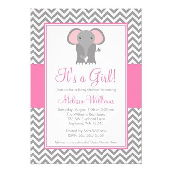 Elephant Chevron Pink Gray Girl Baby Shower