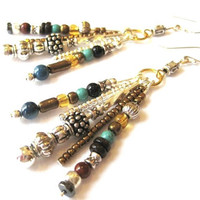 Hippie Statement Earrings BOHO Beaded Gemstone Earring Sterling Wires Turquoise Silver Dangle Bronze Bead