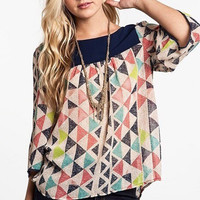 Geometric Tunic - Navy