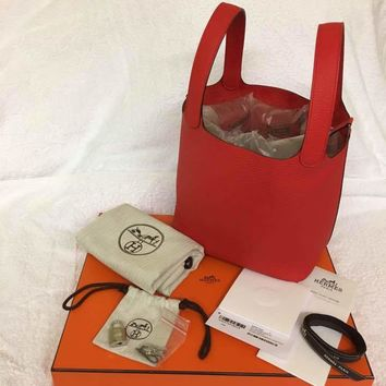 Hermes Women Bag Sac Picotin Lock MM22 Red Purse X stamp 100% Authentic New