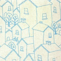 Hand Screenprinted Rooftops in Sky Blue fabric