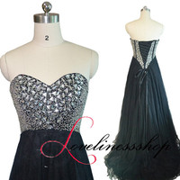Custom color black tulle strapless beaded prom dress,sweetheart neck A line crystal long evening dress,lace up party dress with small train