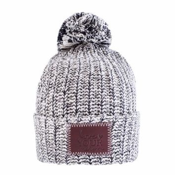 Black Speckled Knit Pom Beanie - Love Your Melon