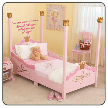Once upon a time Personalized Prince or Princess- Playroom Nursery Vinyl Wall Decal Boys or Girls decal-Kids Wall Decal-