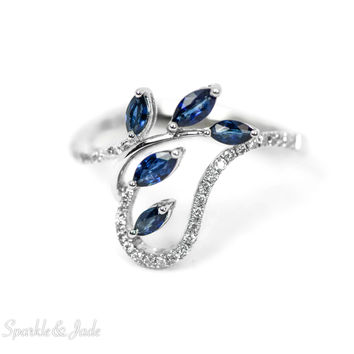 14k White Gold Genuine Marquise Blue Sapphire and Diamond Leaf Design Ring