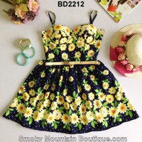 Black with Yellow Flowers Bustier Dress with Adjustable Straps Size S/M - BD2212