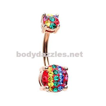 Rose Gold Rainbow Stripe Sprinkle Dot Gem Prong Sparkle Belly Button Ring Surgical Stainless Steel 14ga