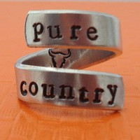 Pure Country Original Ring - Adjustable Wrap Ring - Handed Stamped
