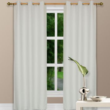 "84"" Ivory Grommet Top Thermal Curtain With Blackout Drape"