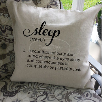 Sleep definition throw pillow cover