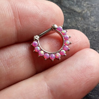 SALE !! Pink Opal 16g (1.2mm) Septum Piercing Clicker Nose Ring