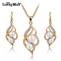Elegant Fashion Jewelry Sets Gold/Silver Plated Pearl Bead Earrings Sets Pendant Necklace Set For Women Wedding Dress SET140024