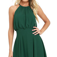Mesmerizing Moment Forest Green Skater Dress