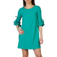Imperial Green Boat Neck Sleeves Dress