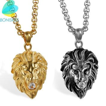 Boniskiss Gold Color Charms Necklace Rock Punk Style Men/Women Vintage Jewelry Lion Stainless Steel Chain Necklaces & Pendants