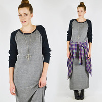vtg 90s grunge revival grey black THERMAL BASEBALL jersey slouchy OVERSIZED t-shirt maxi dress S M