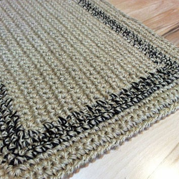 Simple Jute Rug custom color border, Crochet  door rug, Handmade
