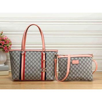 Gucci Women Leather Crossbody Shoulder Bag Satchel Tote Handbag Two Piece Set