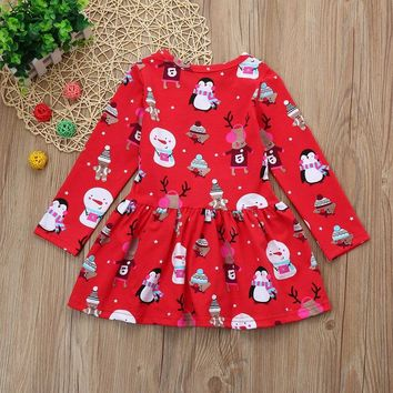 Toddler Kid Baby Girl Christmas Clothes Long Sleeve Pageant Party Princess Dress animals printing round neck mini dress red