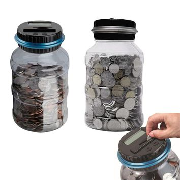 2.5L Piggy Bank Counter Coin Electronic Digital LCD Counting Coin Money Saving Box Jar Coins Storage Box For USD EURO Money