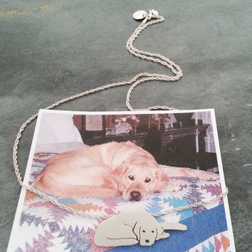 Custom TaGette Necklace Your Pet Pendant  .. Sterling Silver Dog silhouette Jewelry Memoralize Labrador Retriever Keepsake
