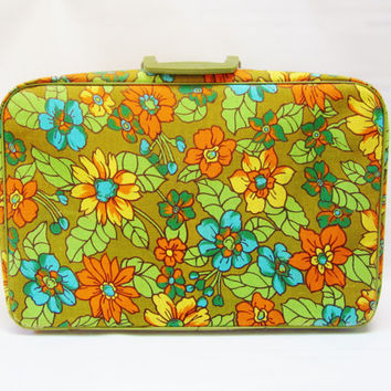 Vintage Luggage Laptop Case Tote FLOWERS Canvas 1960s