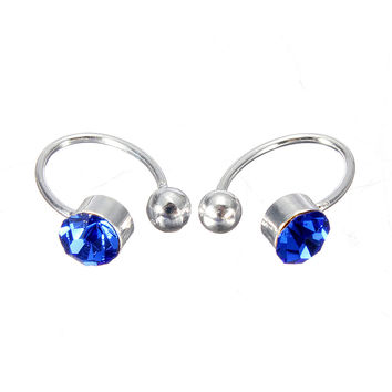 2Pcs No Piercing Crystal Rhinestone Nose Lip Ring Cuff Clip Earring