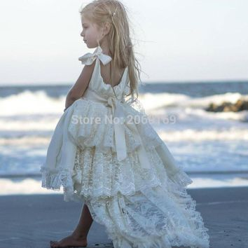 High Low Flower Girls Dresses Ivory For Wedding Layers Lace Beads Ribbon 2017 Beach Spring Pageant Kids Communion Dress