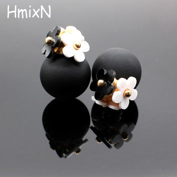 2016 New flower Earrings for Women double two side Brincos simulated pearl ball Mujer boucle Jewelry Women korea stud Earrings