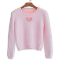 Fluffy Cut Out Heart Sweater
