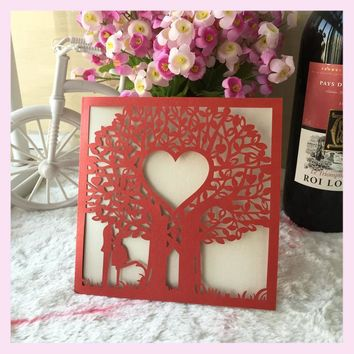 50pcs/lot hot sale love tree two people romantic Laser Cut Wedding Invitation Card with low price luxurious wedding invitation
