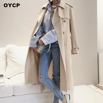 OYCP Maxi Long Trench Coat For Women basic coats Solid Loose X-Long Trench Coat Black/Khaki Ladies Plus Size Coats Female 2017