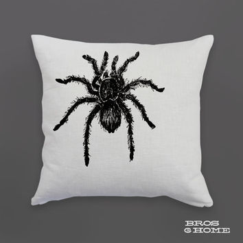 Tarantula Throw Pillow | Screen Printed Tarantula Spider Couch Pillowcase