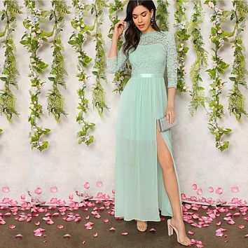 Green V Back Split Thigh Sheer Lace Party Maxi Dress Women Elegant Ribbon Waist Fit and Flare A Line Empire Dresses