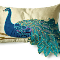 One Kings Lane - Feathered Friends - Peacock 12x20 Pillow, Teal