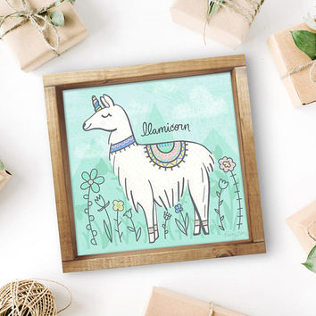 Llamicorn Art Print - Llama Unicorn Poster - Whimsical Mythical Creatures Art - Cute Animals Art