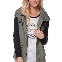 LA Hearts Fleece Sleeve Military Jacket - Womens Jacket