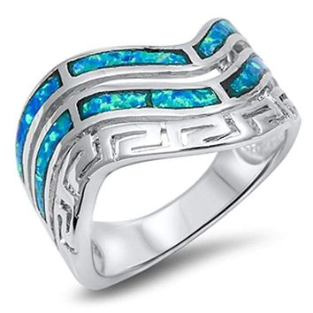 Wavy Greek Santorini Blue Opal and Sterling Silver Band