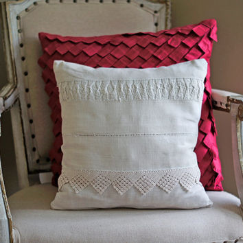 HALF PRICE SALE!  Ooak Cushion Cover Pillow Natural Ivory Ecru Cream Linen Lace Shabby Chic Pillow Cover