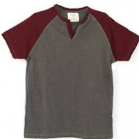 Gliks - 1897 Mens Short Sleeve Raglan Henley in Oxblood