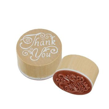 New Wooden Rubber Stamp Round Shape Handwriting Wishes Benediction Craft Thank You  Seal Toys DIY Unique Creative Festival Cards
